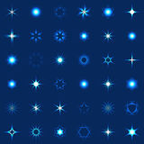 Collection of shining stars and sparkles. Collection of stars and sparkles shining design elements Stock Image
