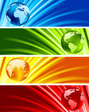 Collection of shiny banners. With globes Royalty Free Stock Photo