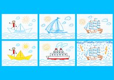 Collection of ships Royalty Free Stock Image