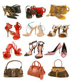 Collection shoes and bag Royalty Free Stock Images