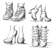 Collection of shoes drawings Stock Photo