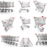 Collection of shopping cart isolated on white Stock Photos