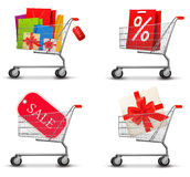 Collection of shopping carts Stock Photos