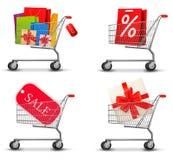 Collection of shopping carts Stock Photos