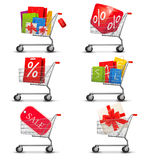 Collection of shopping carts full of shopping bags Royalty Free Stock Photo
