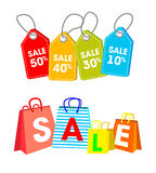 Collection of shopping carts full of shopping bags Stock Photography