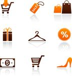 Collection of shopping icons. Vector illustration Stock Photos