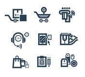 Collection of shopping icons. Such as tag, sticker, basket, bag, trolley, support in black color isolated on white background Stock Photography