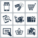 Collection of shopping icons. Such as tag, sticker, basket, bag, trolley, support, delivery in black color isolated on white background Stock Images