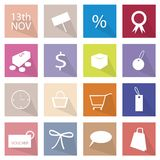 Collection of 16 Shopping Item Icons Banner. Flat Icons, Illustration Set of 16 Shopping Objects and Item Label stock illustration