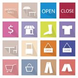 Collection of 16 Shopping Item Icons Banner Stock Photos