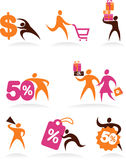 Collection of shopping people icons and logos Royalty Free Stock Photos