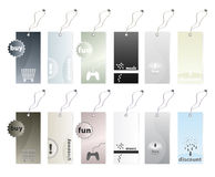 Collection of shopping tags. Vector illustration of six different shopping tags in earth tones color variations in two versions. 12 tags in all Royalty Free Stock Photo