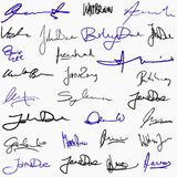 Collection of signatures Stock Photo