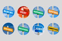 Collection of 8 signs in circles. On grey Stock Image