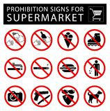 Set of prohibition signs for supermarket. royalty free illustration