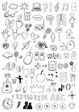 Collection of signs and symbols. Hand drawn collection of signs and symbols royalty free illustration