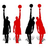 Collection of Silhouette basketball players, red and black, hold royalty free illustration