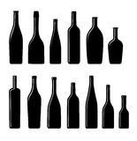 Collection of Silhouette bottles Stock Image