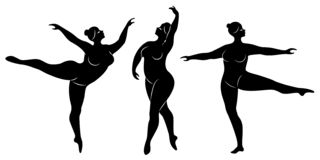 Collection. Silhouette of a cute lady, she is dancing ballet. A woman is overweight. The girl is plump, slim, thin. Woman stock illustration