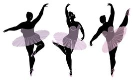 Collection. Silhouette of a cute lady, she is dancing ballet. Woman is overweight. The girl is plump and slim. Woman is ballerina stock illustration
