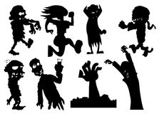 Collection of silhouette halloween characters Stock Photography