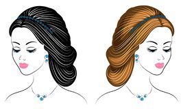 Collection. Silhouette of the head of a cute lady. The girl shows her hairstyle on long and medium hair. Suitable for logo,. Advertising. Set of vector royalty free illustration