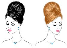 Collection. Silhouette of the head of a cute lady. The girl shows her hairstyle on long and medium hair. Suitable for logo,. Advertising. Set of vector stock illustration