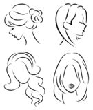 Collection. Silhouette of the head of a cute lady. The girl shows her hairstyle on long and medium hair. Suitable for logo, royalty free illustration