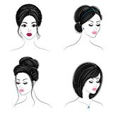 Collection. Silhouette of the head of a cute lady. The girl shows her hairstyle on long and medium hair. Suitable for logo,. Advertising. Set of vector vector illustration