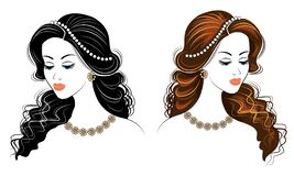 Collection. Silhouette of the head of a cute lady. The girl shows her hairstyle on long and medium hair. Suitable for logo, vector illustration