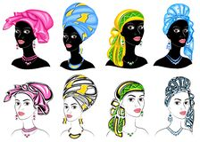 Collection. Silhouette of a head of a sweet lady. A bright shawl, a turban, tied to the head of an African-American girl. The royalty free illustration