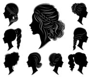 Collection. Silhouette of a head of a sweet lady in different frames. The girl shows a woman s hairstyle on medium and long hair. Suitable for logo vector illustration