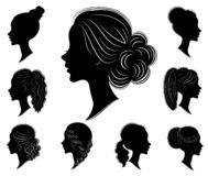 Collection. Silhouette of a head of a sweet lady in different frames. The girl shows a woman s hairstyle on medium and long hair. Suitable for logo stock illustration