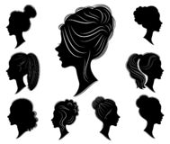 Collection. Silhouette of a head of a sweet lady in different frames. The girl shows a woman s hairstyle on medium and long hair. Suitable for logo royalty free illustration