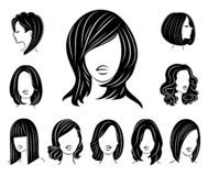 Collection. Silhouette of a head of a sweet lady. A girl shows a hairstyle of a woman on long, medium and short hair. Suitable for. Logo, advertising. Set of vector illustration