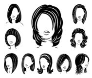 Collection. Silhouette of a head of a sweet lady. A girl shows a hairstyle of a woman on long, medium and short hair. Suitable for. Logo, advertising. Set of royalty free illustration