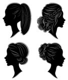 Collection. Silhouette of the head of a sweet lady. Pretty girl shows beautiful female hairstyle on medium and long hair. Suitable. For logo, advertising stock illustration