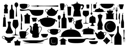 Collection of silhouette kitchen utensil. Royalty Free Stock Photos