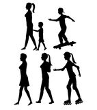 Collection silhouette person walk and skate roller. Vector illustration eps 10 Stock Image
