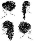 Collection. Silhouette profile of a cute lady s head. The girl shows her hairstyle for medium and long hair. Suitable for logo,. Advertising. Vector stock illustration