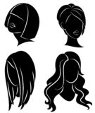 Collection. Silhouette profile of a cute lady s head. The girl shows her hairstyle for medium and long hair. Suitable for logo,. Advertising. Vector vector illustration