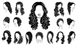 Collection. Silhouette profile of a cute lady s head. The girl shows her hairstyle for medium and long hair. Suitable for logo,. Advertising. Vector royalty free illustration