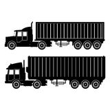 Collection silhouette truck trailer container delivery transport Royalty Free Stock Photo