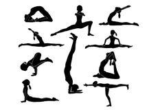 Collection of silhouette Women yoga poses. On white Stock Photo