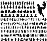 Collection of silhouettes. A new huge collection of excellent high quality traced people groups pairs business posing emotion dancing shopping sport hands up vector illustration