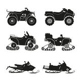 Collection of silhouettes of ATV. Set cross-country vehicles Stock Photos