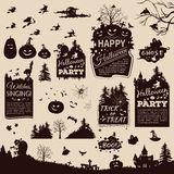 Collection of silhouettes and banners for Halloween Royalty Free Stock Photography