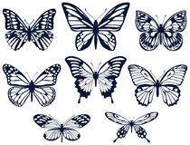 Collection of silhouettes of butterflies. Butterfly icons. Vector illustration. Royalty Free Stock Photography