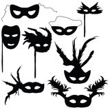 Collection of silhouettes carnival masks Stock Photography